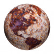 Terrestrial globe - corrosion stains on iron — Stock fotografie