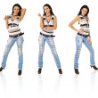 Sexy girl in torn jeans in three variants — Stock Photo