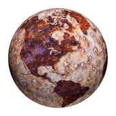 Terrestrial globe - corrosion stains on iron — Stock Photo