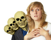 Woman pursued by complexes — Stock Photo