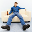 Normal inhabitant resting at home — Stock Photo