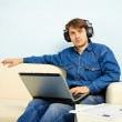 At home listening to symphonic music — Stock Photo #5550401