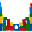 Rickety castle of color cubes — Stock Photo