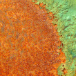 Partially rotted paint on metal surface — Stock Photo