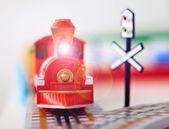 Toy steam engine closeup — Stock Photo