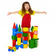 Stock Photo: Happy child in a toy castle