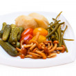 Pickled vegetables on the plate - Stock Photo