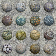 Set of stone balls on granite wall - seamless texture - Stock Photo