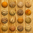 Set of wooden balls against veneer — Stock Photo