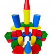 Toy castle made ​​of multicolored plastic blocks — Stock Photo