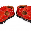 Red children's leather shoes on white — Stock Photo #6157148