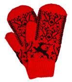 Woolen mittens on white background — Stock Photo