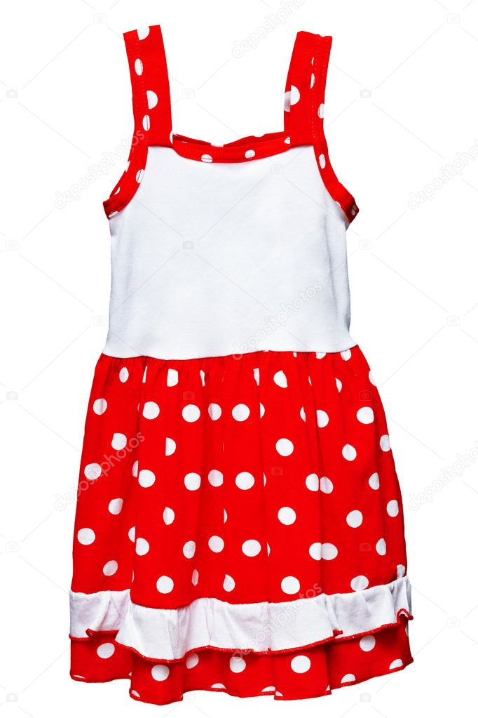 Small red polka dot dress for girls isolated on white background — Stock Photo #6157195