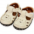 White children's leather sandals — Stock Photo