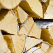 Birch logs in woodpile - Stock Photo