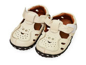 White children's leather sandals — Stockfoto