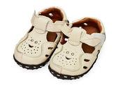 White children's leather sandals — Stok fotoğraf