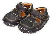 Sandálias de couro escuro para crianças — Foto Stock