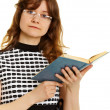 Young woman in glasses with textbook — Stock Photo #6185466