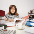 Female accountant very busy in office — Stock Photo #6185573