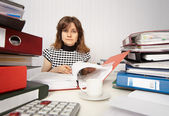 Female accountant very busy in office — Stock Photo