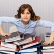 Serious chief accountant at workplace with documents — Stock Photo