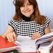 Woman is working with financial documents — Stock Photo