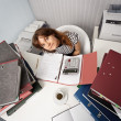 Young woman - financier on office workplace — Stok fotoğraf