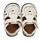 Leather footwear for the young child — Stock Photo