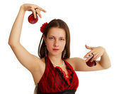 Young girl performing Spanish dance — Stock Photo