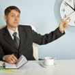 Businessman recalls saving time — ストック写真
