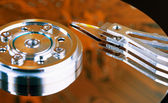 Surface of hard disk - an unusual lighting — Stock Photo