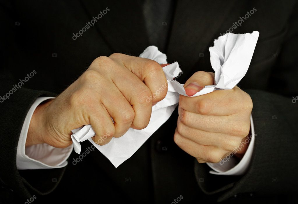 Businessman hands furiously tormenting document close up — Stock Photo #6282107