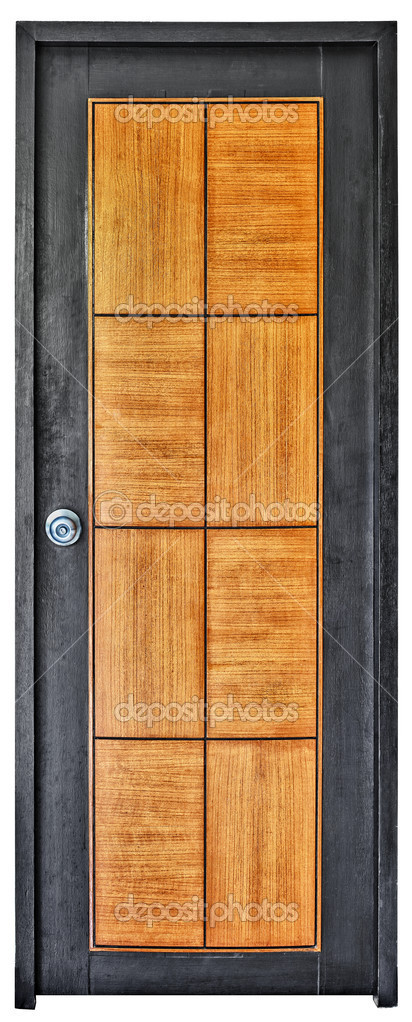 The modern wooden door isolated on white background — Stock Photo #6367615