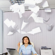 Stock Photo: Office worker and annoying documentation