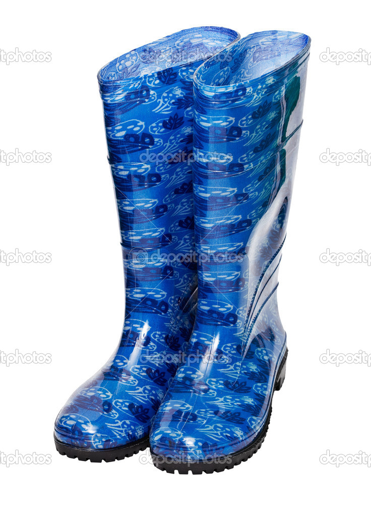 High blue rubber boots isolated on white background — Stock Photo #6476755