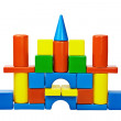 Castle was built from color toy blocks — Stock Photo