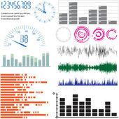Conjunto de elementos de diseño vectorial - ecualizadores y escalas — Vector de stock