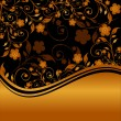 Vector illustration of a golden floral ornament with striped silhouette - Stock Vector