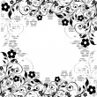 Floral ornament with striped silhouette - Stock Vector