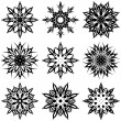 Vector illustration of a set of snowflakes - Stock Vector
