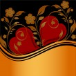 Floral ornament with two hearts — Imagen vectorial