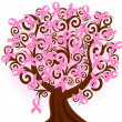 Vector illustration of a breast cancer pink ribbon tree — Image vectorielle