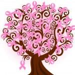 vektor illustration av ett bröst cancer Rosa bandet träd — Stockvektor