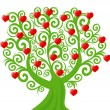 Curl tree with the hearts — Stock Vector