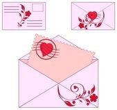 Vector illustration of an envelopes with floral ornament and heart. — Stock Vector