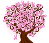 Vector illustration of a breast cancer pink ribbon tree — Stock Vector