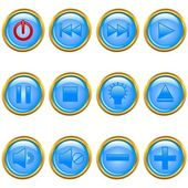 Vector illustration of a set of a golden media buttons. — Stock Vector