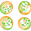 Vector illustration of set of green icons with flower. Cb — Vecteur #6636250