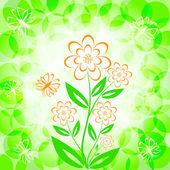 Ilustracja wektorowa bukiet kwiatów z motyl — Wektor stockowy